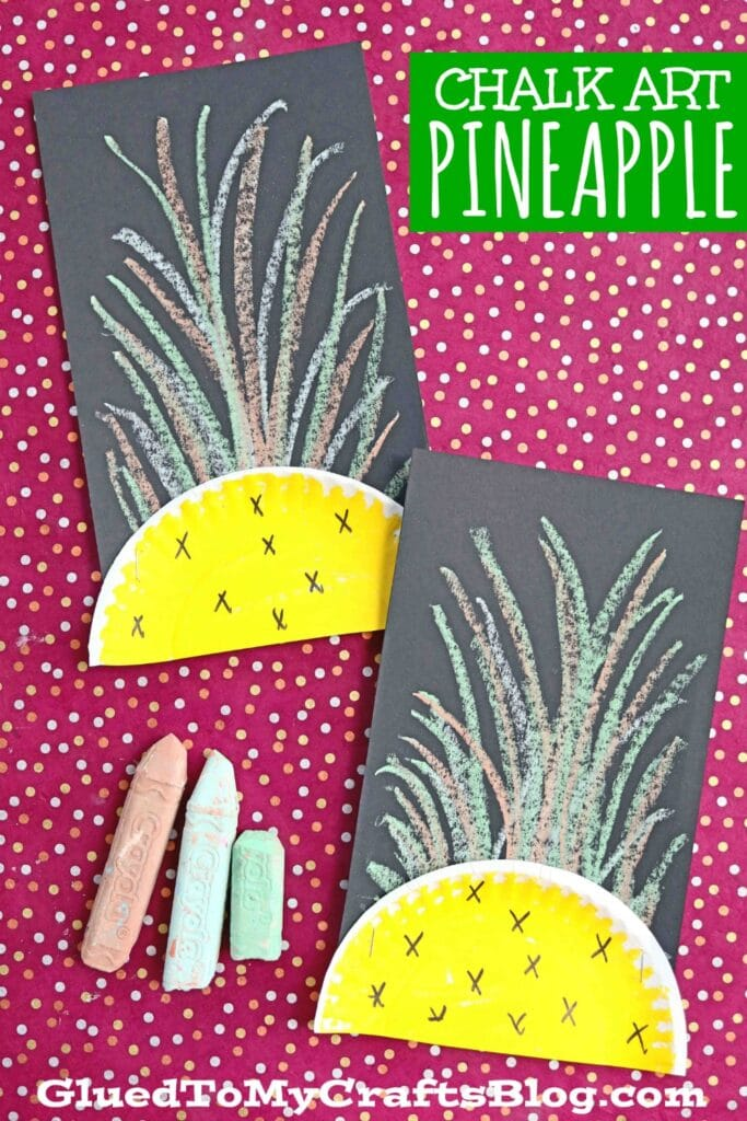Super Easy Paper Craft For Kids - Chalk Art Pineapple