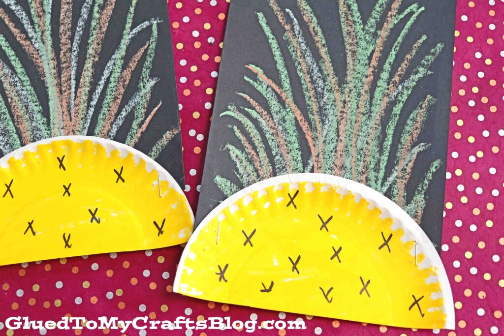 Pineapple Kid Craft Idea Using Sidewalk Chalk & A Paper Plate