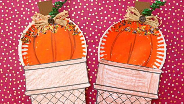 Paper Plate Pumpkin Ice Cream Cone Craft For Kids