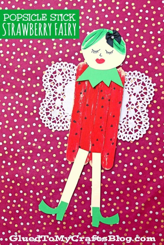 Popsicle Stick Strawberry Fairies - Kid Craft