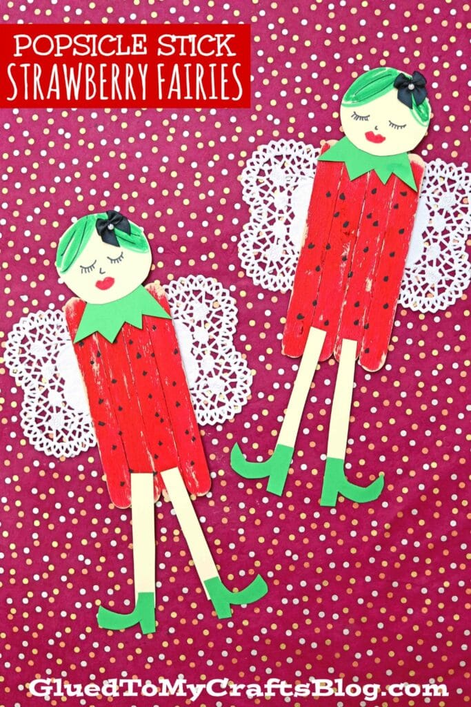 Popsicle Stick Strawberry Fairies - Kid Craft