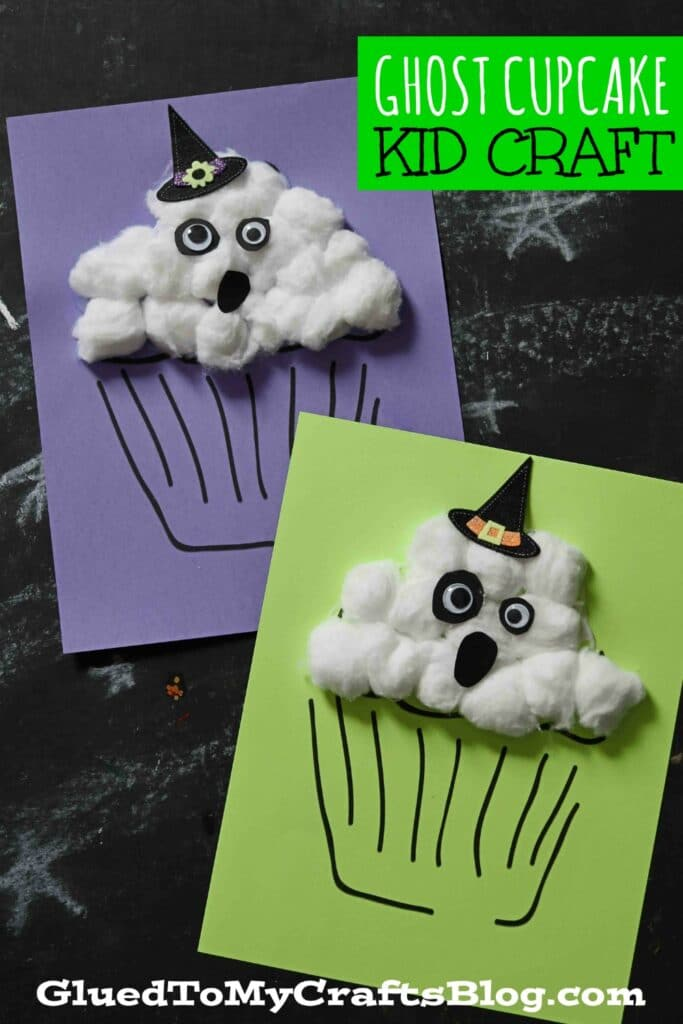 Cotton Ball Ghost Cupcake Craft For Halloween