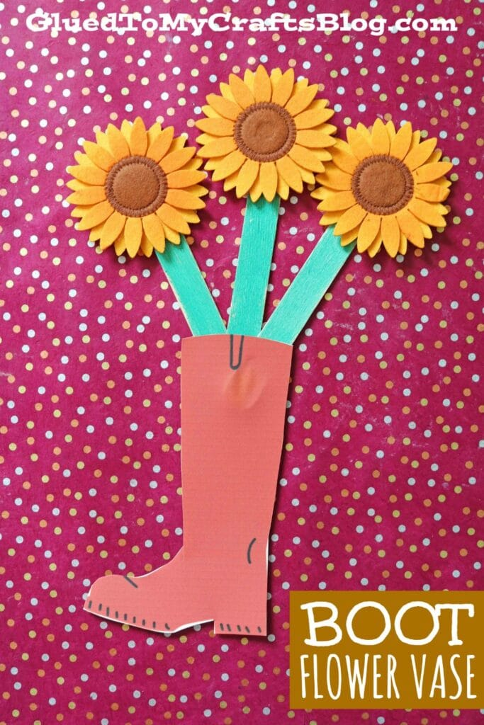 Paper Boot Flower Vase Craft Idea For Kids