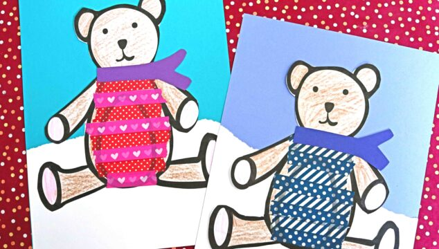 Paper & Washi Tape Bear In Sweater - Kid Craft Idea