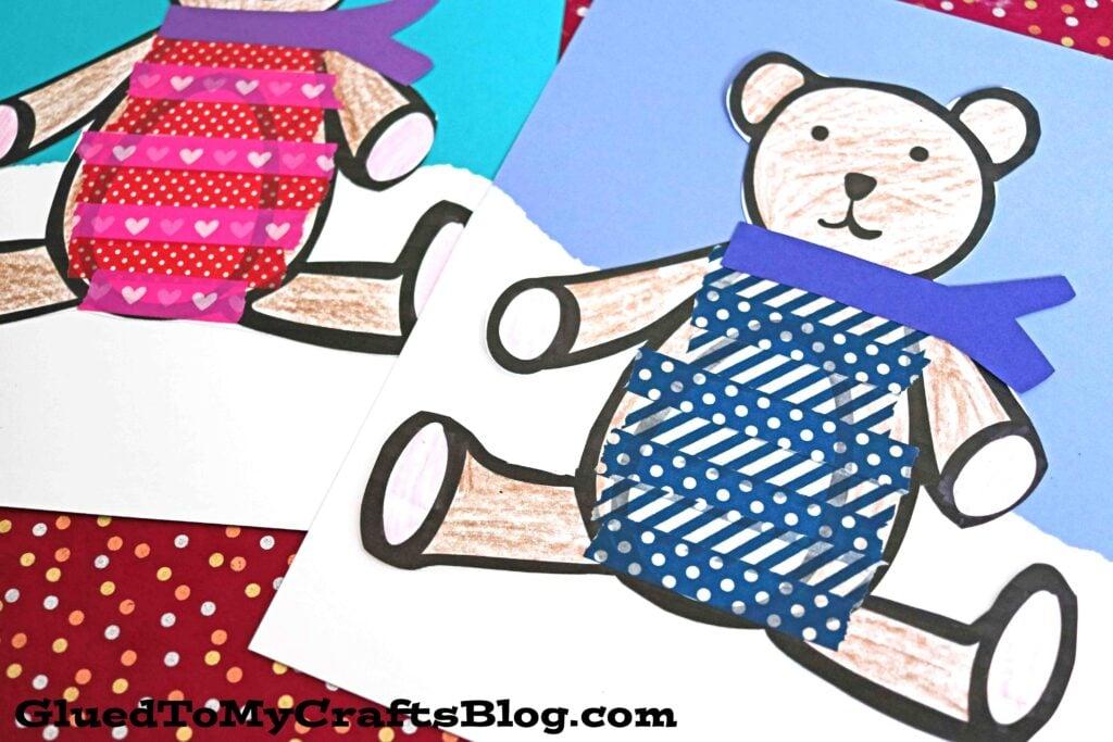 Paper & Washi Tape Bear In Sweater - Kid Craft Idea
