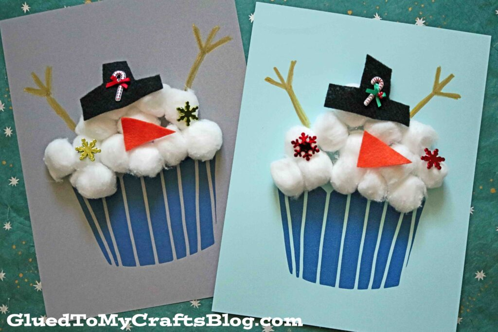 Cotton Ball Snowman Cupcake Craft For Kids To Make This Winter