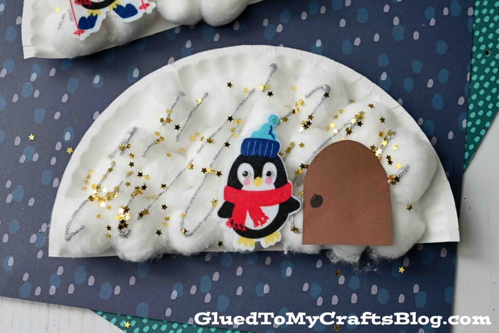 Paper Plate & Cotton Ball Igloo - Winter Kid Craft