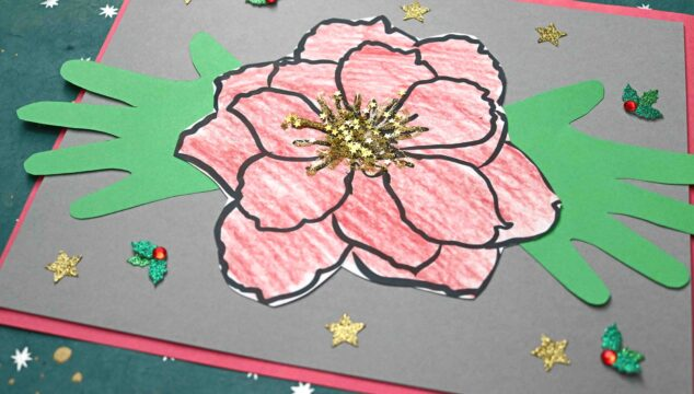 Handprint Poinsettia Flower Keepsake Craft For Kids