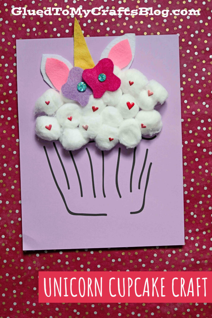 Unique Cotton Ball Unicorn Cupcake Craft Idea For Kids