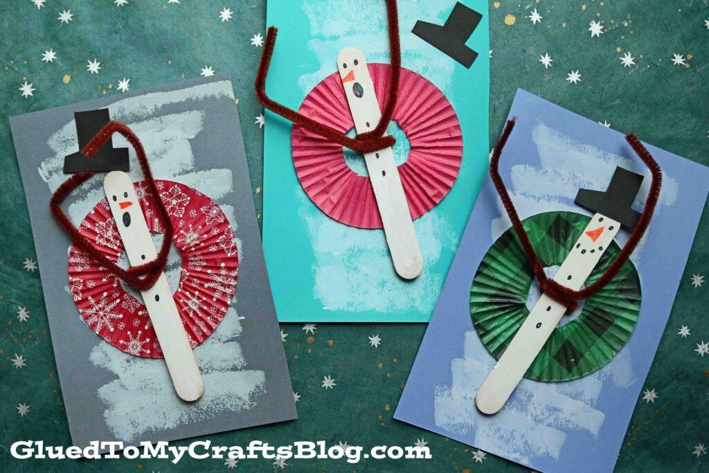 Cupcake Liner Snowtubing Snowman Craft