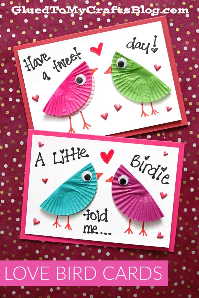 Cupcake Liner Love Bird Card Craft For Valentine's Day