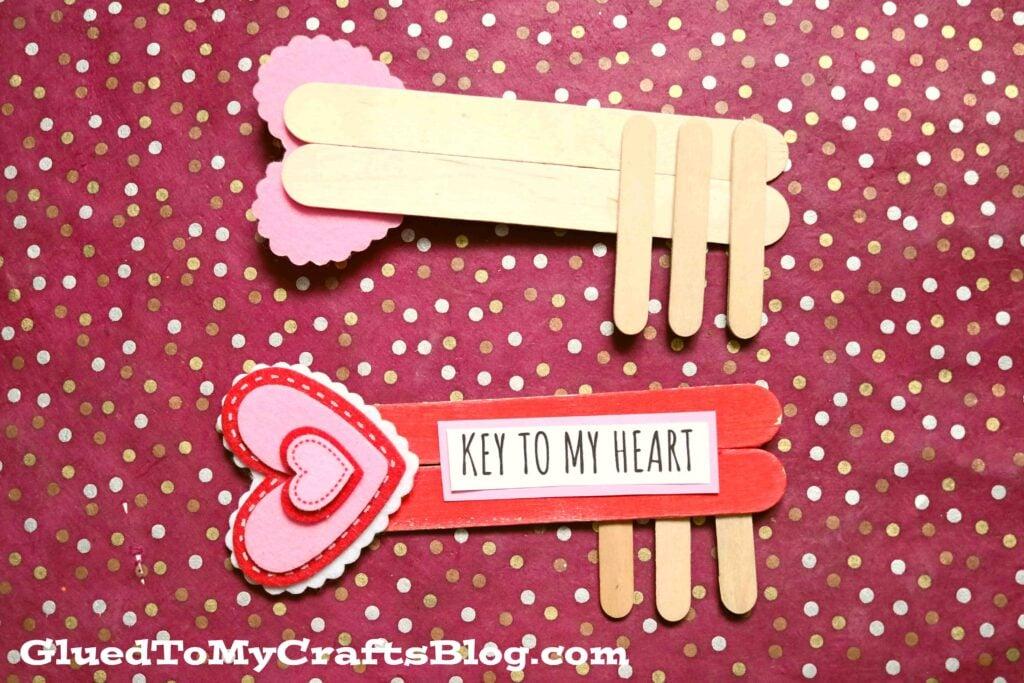 Popsicle Stick Key To My Heart - Valentine's Day Kid Craft Idea