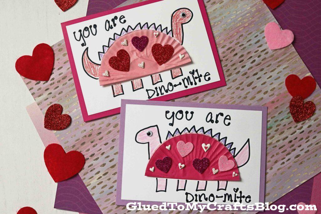 Cupcake Liner Dinosaur Card Craft To Make This Valentine's Day