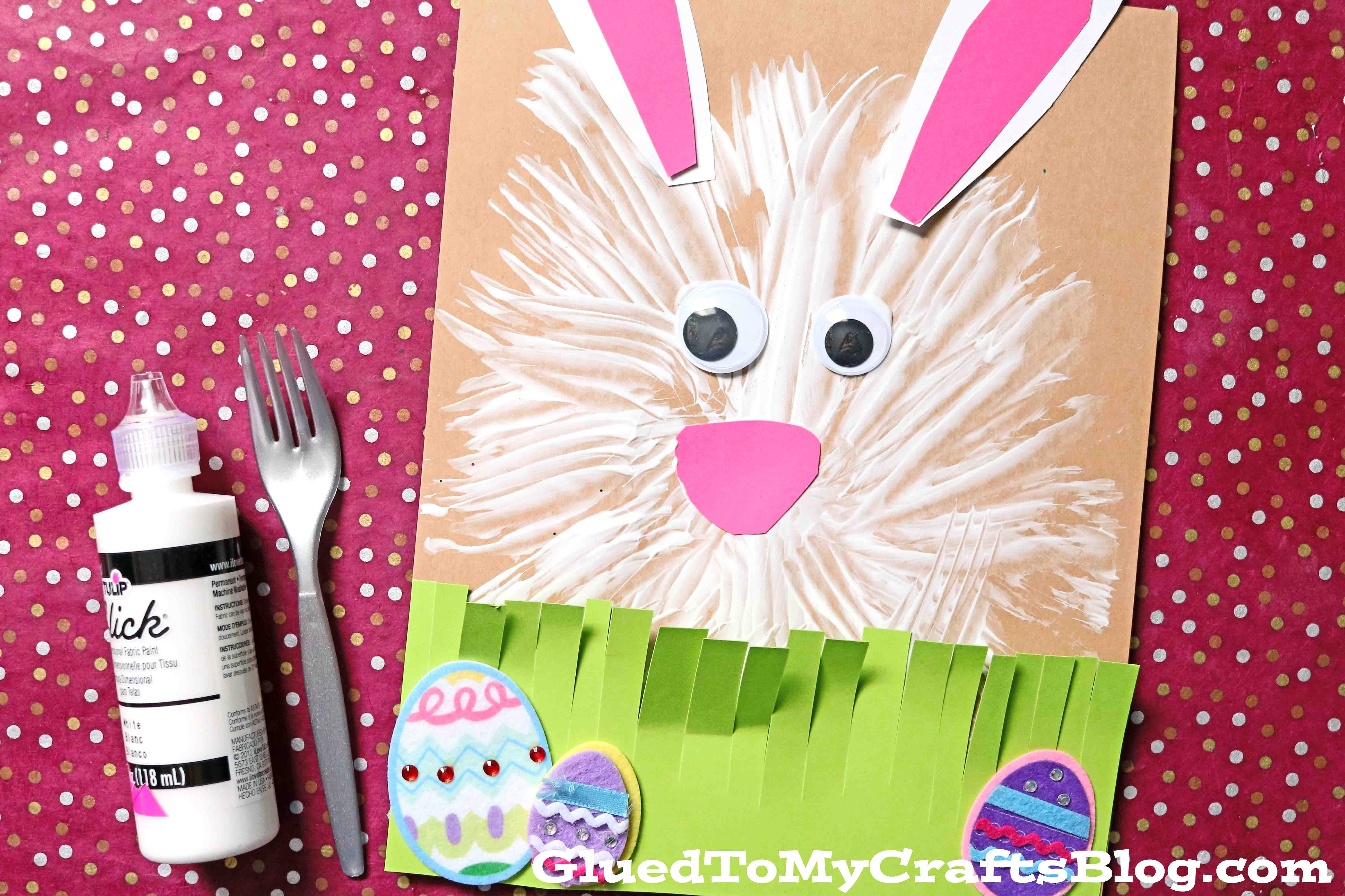 Fork Painted Bunny Craft For Kids To Make This Spring