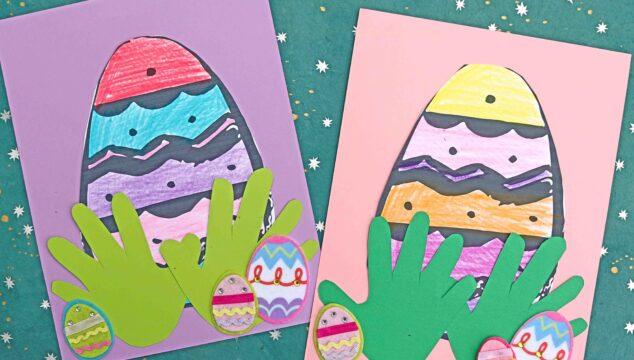 Easter Egg Hiding In Handprint Grass - Paper Craft For Kids