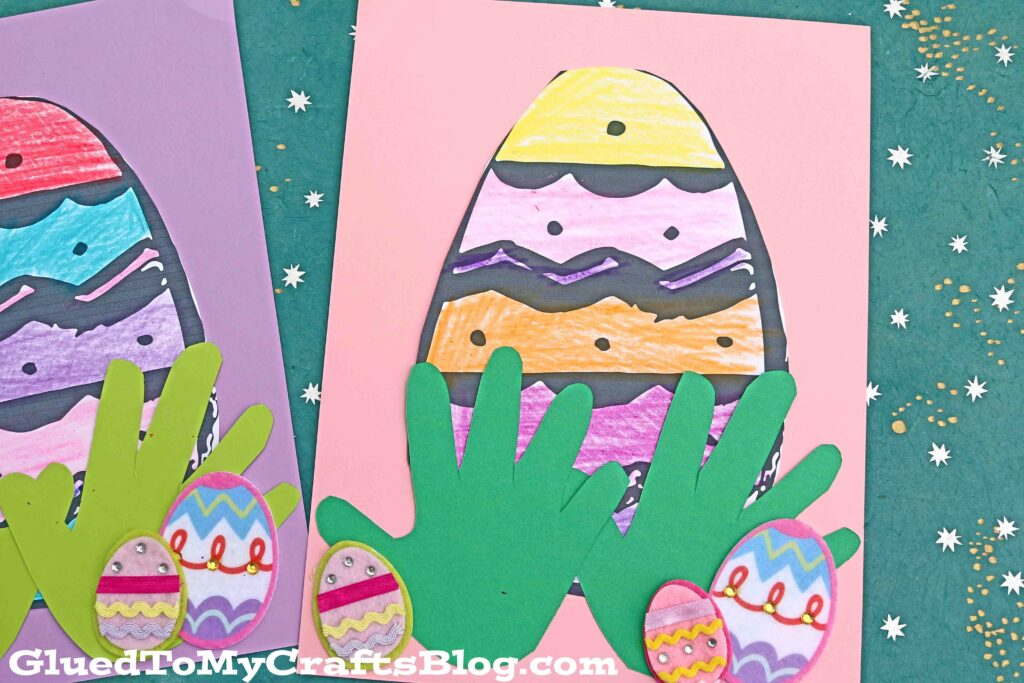Easter Egg Hiding In Handprint Grass - Paper Craft For Kids