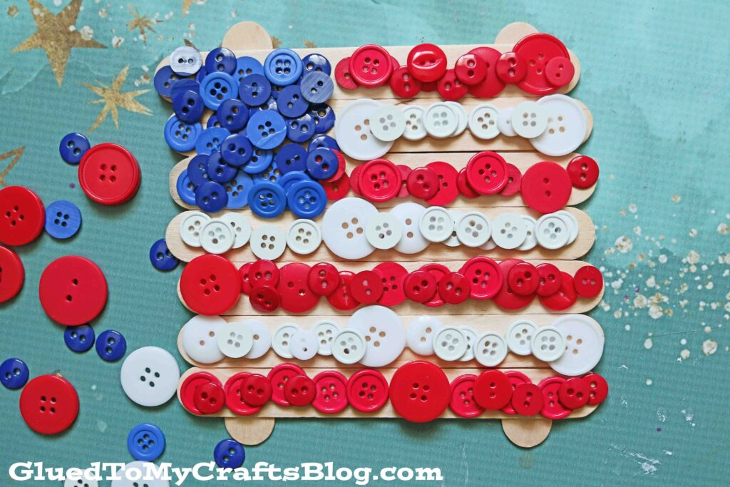 Popsicle Stick Button Flag - Patriotic Kid Craft