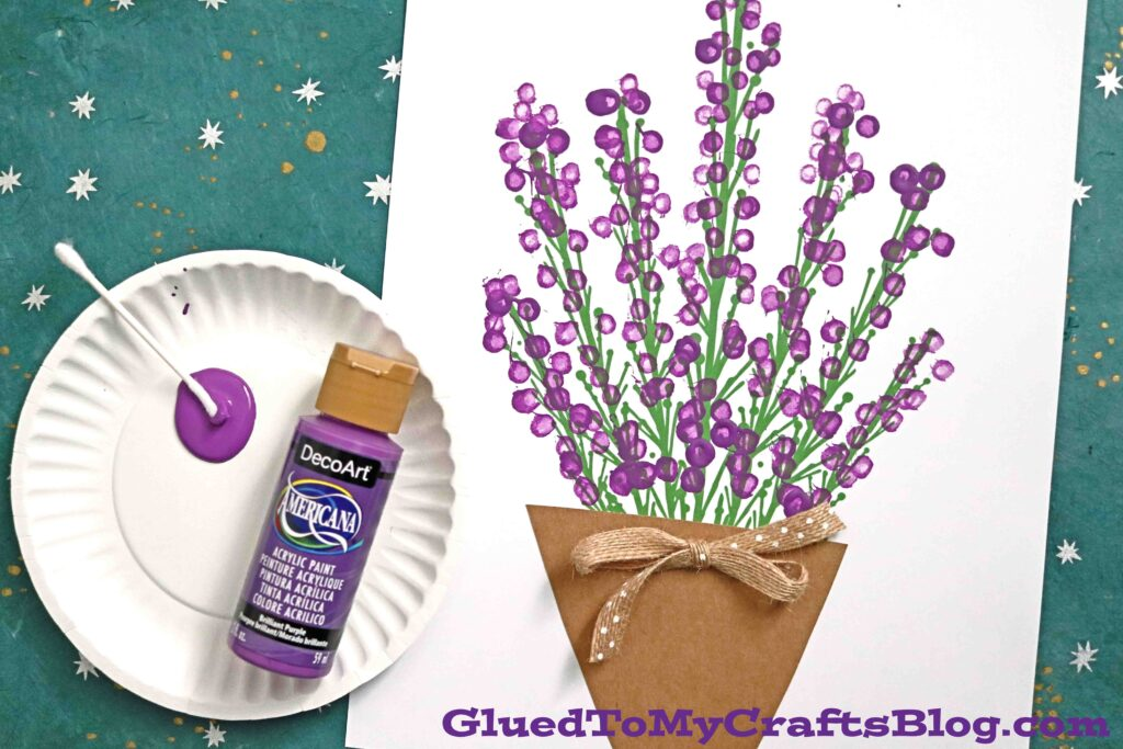Q-Tip Painted Lavender Plant - 5 Minute Craft Idea For Kids