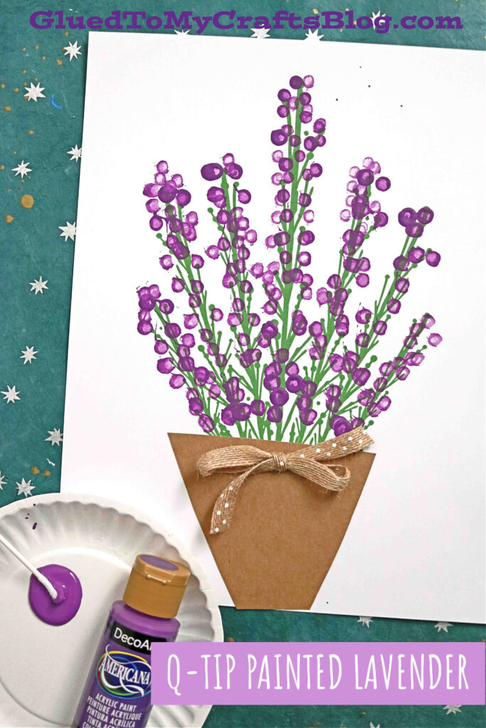 Easy Lavender Painting with Cotton Swabs - 5 Minute Craft Idea For Kids