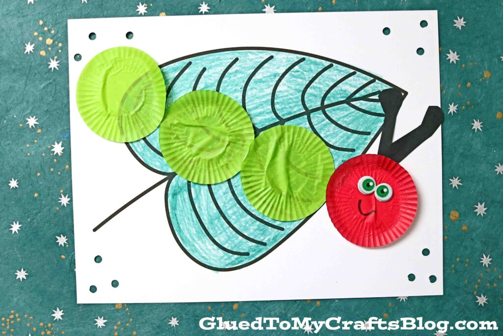 Cupcake Liner Caterpillar - Craft Idea For The Very Hungry Caterpillar Book
