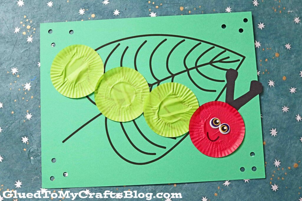 Cupcake Liner Caterpillar On Paper Leaf - Craft Idea For Kids
