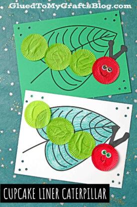 Cupcake Liner Caterpillar - Craft Idea For The Very Hungry Caterpillar Book