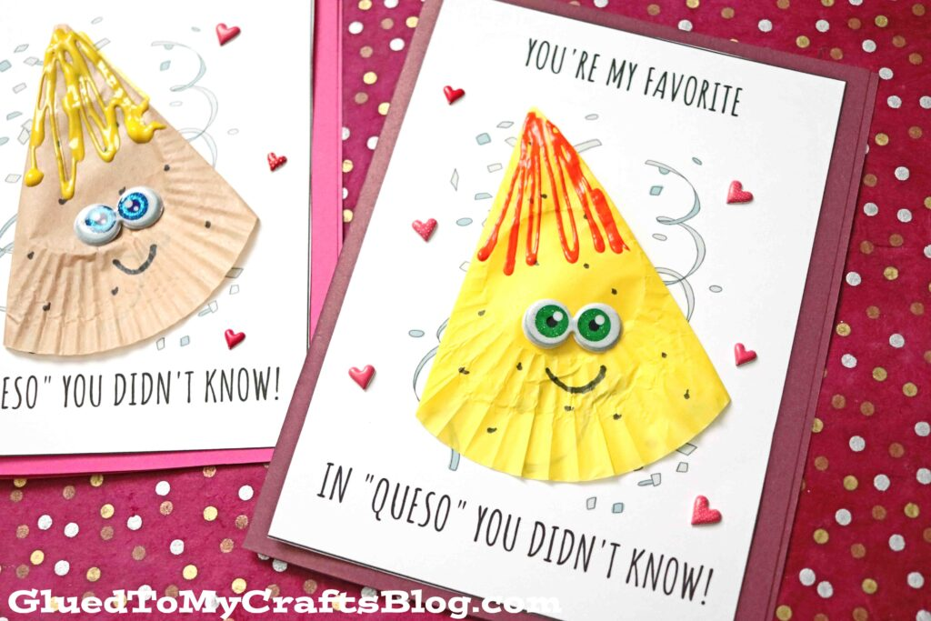 Punny Cupcake Liner Nacho Chip & Queso Card Craft