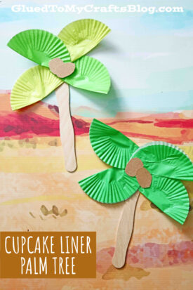 Popsicle Stick & Cupcake Liner Palm Tree Craft Idea For Kids