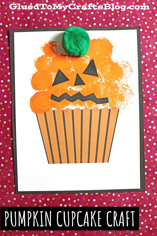 Pom Pom Painted Pumpkin Cupcake Craft For Fall