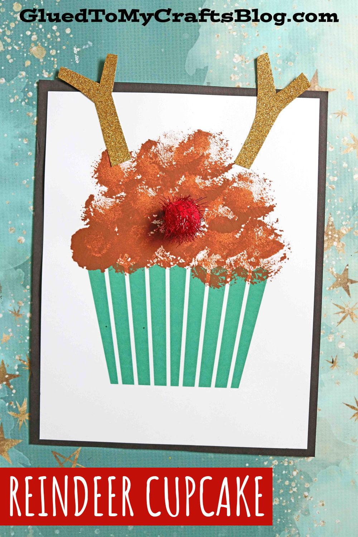 Pom Pom Reindeer Cupcake - Kid Craft Idea For Christmas
