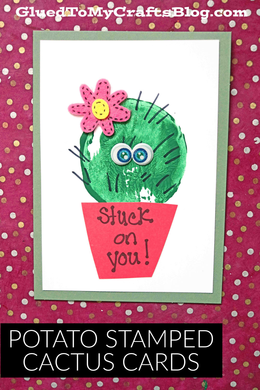 Potato Stamped Cactus Card Idea For Valentine's Day