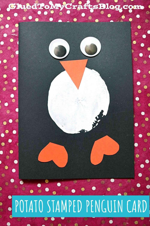 Potato Stamped Penguin Card Idea For Kids