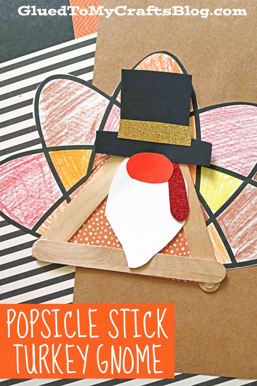 Popsicle Stick Turkey Gnome - Thanksgiving Craft