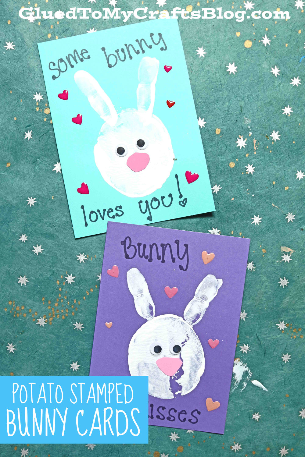 Potato Stamped Bunny Cards - Kid Craft