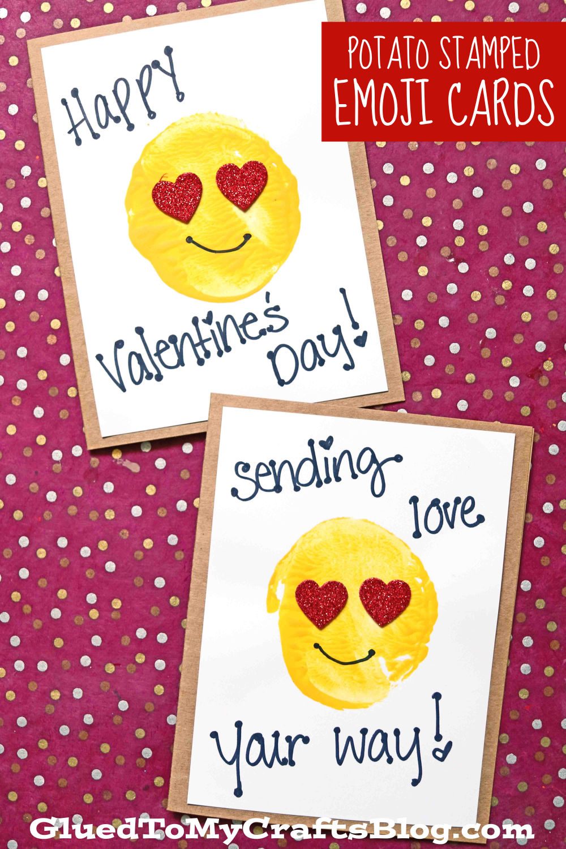 Potato Stamped Emoji Card For Valentine's Day