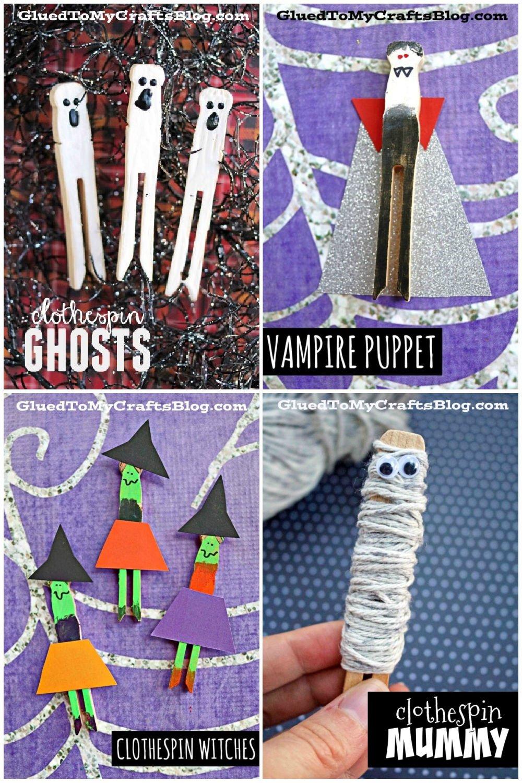 Halloween Clothespin Puppets - Kid Craft Idea