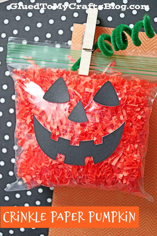 Crinkle Paper Pumpkin - Jack-O-Lantern Craft For Toddlers