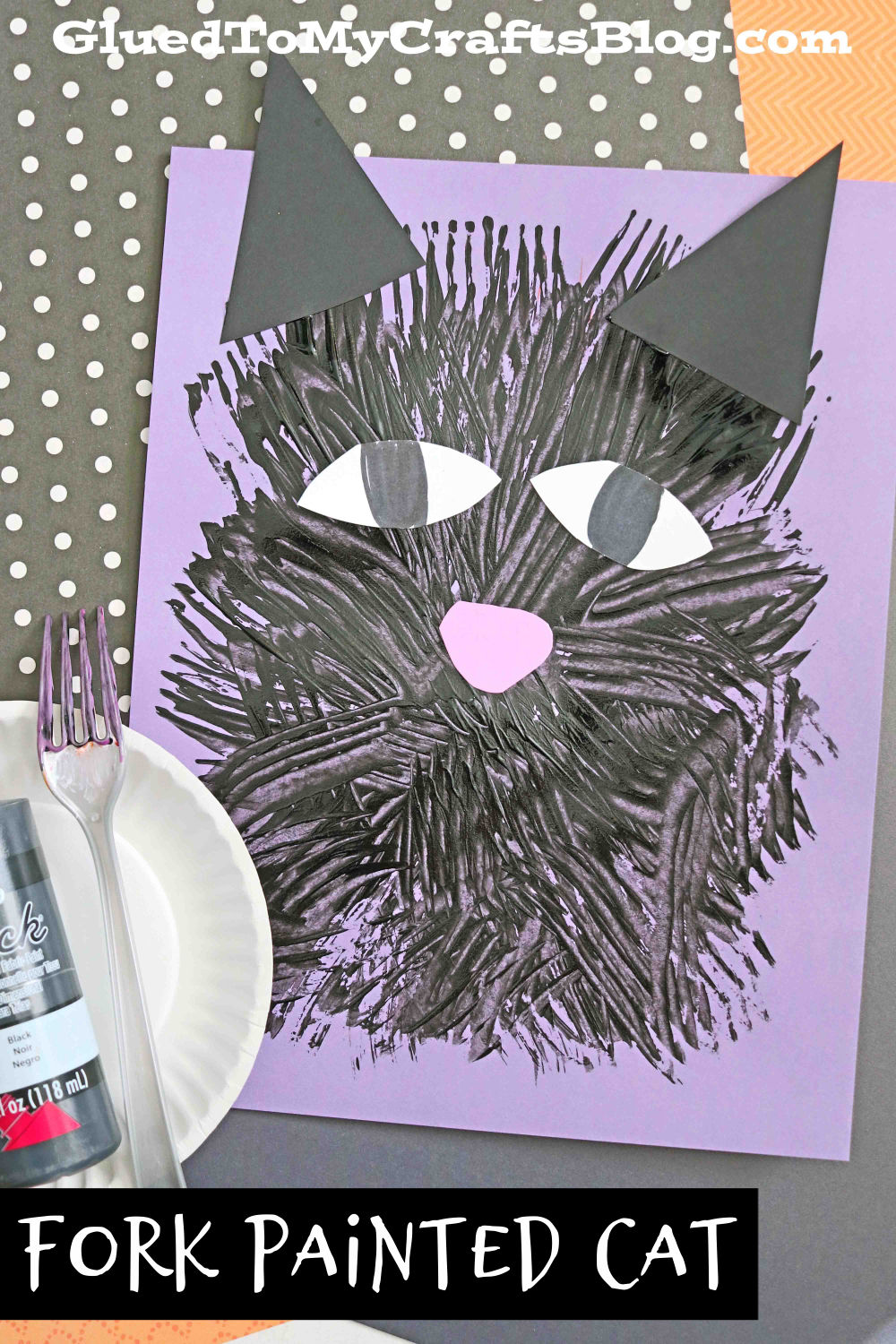 Fork Painted Black Cat For Halloween