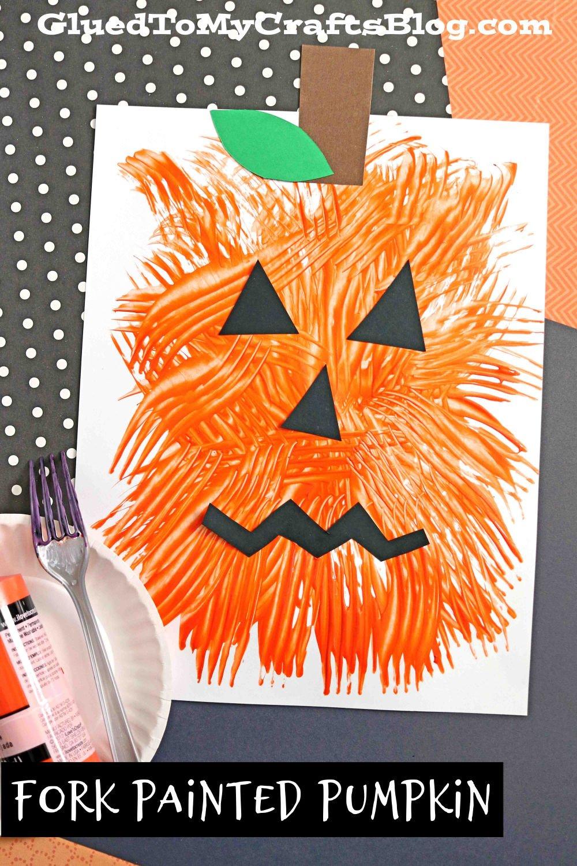 Fork Painted Jack-O-Lantern Pumpkin