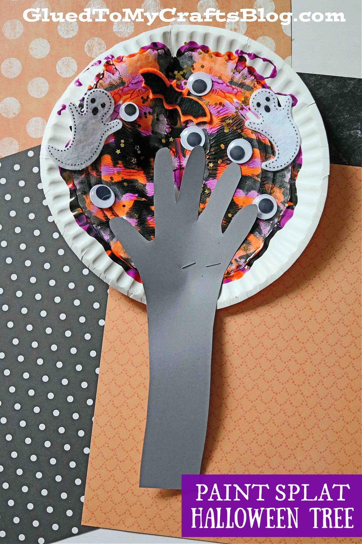 Paint Splat Halloween Tree Craft Idea For Kids
