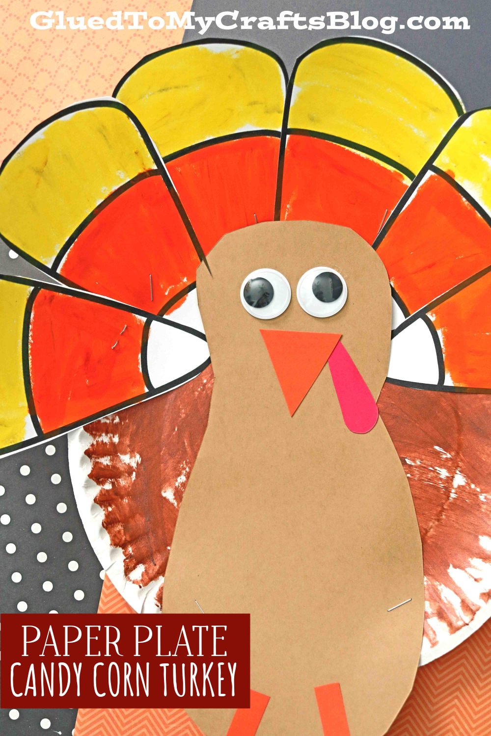 Paper Plate Candy Corn Turkey Craft For Kids