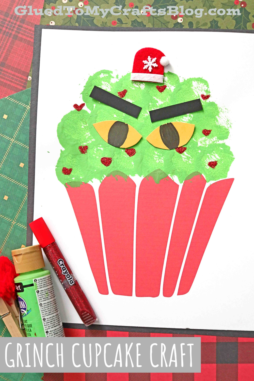 Pom Pom Painted Grinch Cupcake Craft Idea For Kids